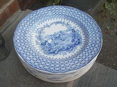 "12 ANTIQUE MINTON BLUE TRANSFER BRITISH CASTLE ""THE GEM"" 10""  DINNER PLATE"
