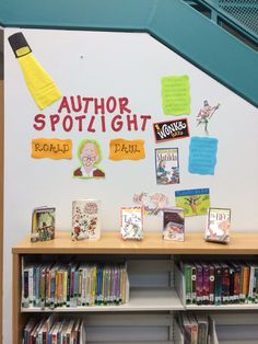 Author spotlight library display made by /lacemeier/ Elementary Library Decorations, School Library Displays, Middle School Libraries, Elementary School Library, Class Library, Library Science, Reading Library, Library Activities, Library Ideas