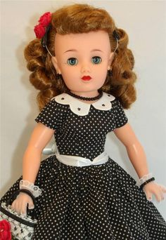 """Ideal Miss REVLON vt-20 Vintage 50's 20"""" Fashion Doll in Black dotted swiss with rhinestone accents on collar"""