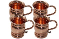 Authentic Copper Old Fashion Smooth Moscow Mule Mug with Flat Lip Set Of 4 #Buddha4all