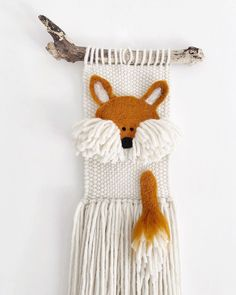 Baban lowarn (baby fox in Cornish) - Made to order. Links in bio. Just realised I only shared Mr Fox 🦊 in my stories! Crochet Wall Hangings, Weaving Wall Hanging, Hanging Wall Art, Baby Room Art, Baby Wall Art, Diy Embroidery Designs, Weaving For Kids, Felt Fox, String Crafts