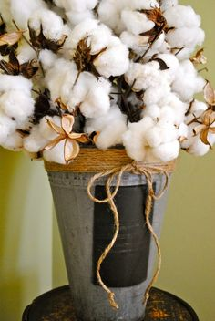 Cotton bouquet centerpiece