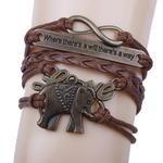 Elephant Handmade Leather Braid Fashion Bracelet