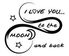 Amazon.com - I Love You to The Moon And Back Wall Decal is a High Quality Black Vinyl Wall Decal-Perfect I Love You Gifts-Guess How Much I Love You No More- Because I Love You This Much-I Love You Forever -