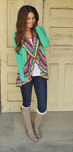 Dottie Couture Boutique - Mint Colorful Open Cardi , $48.00 (http://www.dottiecouture.com/mint-colorful-open-cardi/)