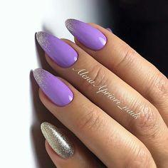 Summer Nail Designs - My Cool Nail Designs Cute Almond Nails, Almond Acrylic Nails, Purple Nail Art, Pink Nails, Trendy Nails, Cute Nails, Manicure, Pin On, Cool Nail Designs
