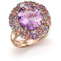 Purple Amethyst, Pink Amethyst, Pink Tourmaline and Diamond Cocktail Ring in 14K Rose Gold