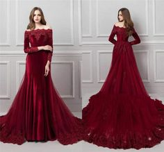 Charming Mermaid Evening Dresses Off-Shoulder Lace Appliques Beaded Prom Dress Colored Wedding Gowns, Red Wedding Dresses, Evening Dresses For Weddings, Pakistani Bridal Dresses, Mermaid Evening Dresses, Banquet Dresses, Stitching Dresses, Fashion Drawing Dresses, Fancy Gowns