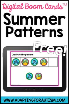 Grab these FREE boom learning digital task cards to practice ABAB patterns. Students get instant feedback on boom cards and will love practicing with these fun summer graphics. Perfect for independent work stations or math centers. Special Education Math, File Folder Activities, Work Task, Work Stations, Autism Classroom, Summer Patterns, Card Patterns, Task Cards, Math Centers