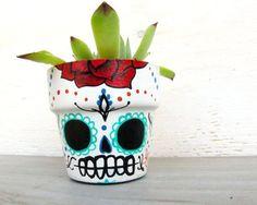 Sugar Skull Planter with Succulent - Dia de los Muertos Day of the Dead Tattoo Terra Cotta