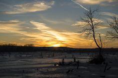 Sun sets over Branched Oak Lake