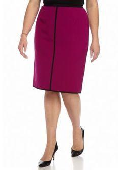 Kasper  Plus Size Seamed Straight Skirt