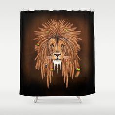 Rasta Lion Dreadlock SHOWER CURTAIN @pointsalestore #society6 #showercurtain #shower #bathroom #painting #digital #oil #popart #streetart #rasta #dreadlock #marley #bob #lion #lionking #simba #kingofthejungle #tarzan #music #raggae #africa #junglebook #beast #animal #cat #bigcat