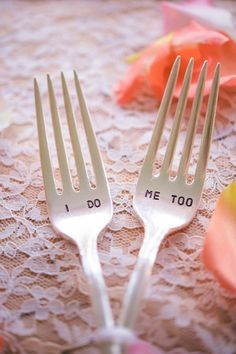 we are are so into these forks from Pretty Paris #ido #brideandgroomforks #weddingchicks http://www.weddingchicks.com/2014/01/24/pinterest-inspired-vintage-wedding/