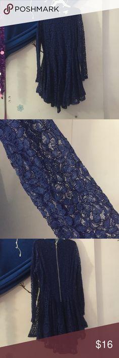 Blue lace long sleeve dress Royal blue, long sleeve, lace dress, culotte, size 10 H&M Dresses Long Sleeve