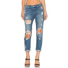 Lovers + Friends Ezra Slim Boyfriend Jean Denim ($188) ❤ liked on Polyvore featuring jeans, blue denim jeans, ripped jeans, ripped boyfriend jeans, destroyed jeans and destructed boyfriend jeans