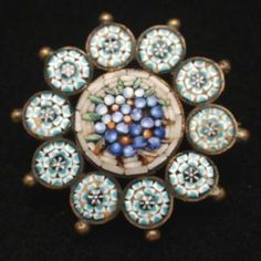 Micromosaic Flower Pin, JE & Co, c1900