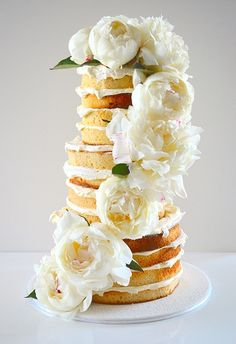 Naked Vanilla Cake With Peonies