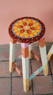 Banqueta pintada a mano, diseño de mandala