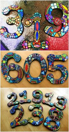 25 Creative And Unique Projects For Beautifully Displaying House Numbers - DIY & Crafts Mosaic Diy, Mosaic Garden, Mosaic Crafts, Mosaic Projects, Mosaic Vase, Mosaic Tables, Mosaic Ideas, Pottery Houses, Mosaic Madness
