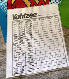 Yahtzee Score Cards Multicolor  Yahtzee Score Card Walmart And