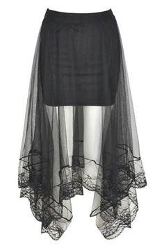 Black Mesh Insert Asymmetrical Hem Elastic Skirt