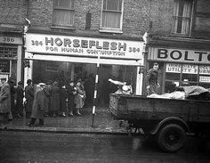 This busy scene on 384 Coldharbour Lane, Brixton shows crowds queuing outside a store advertising 'Horse Flesh for Human Consumption' while a lorry unloads more meat. The photo was ta… Vintage London, Old London, Vintage Shops, London History, British History, Local History, Old Pictures, Old Photos, Old Street
