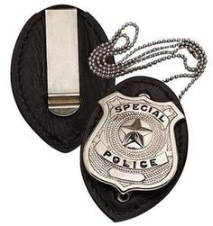 Deluxe Leather Police Detective Badge Holder w Chain   eBay