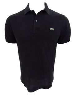 Lacoste Polo Shirt Size  L Large 4 Black Cotton Short Sleeve #Lacoste #PoloRugby