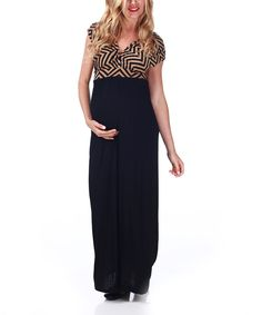 Another great find on #zulily! PinkBlush Maternity Black & Mocha Zigzag Maternity Maxi Dress by PinkBlush Maternity #zulilyfinds
