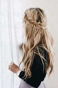 ooh, i love this | half up crown braid, up do, hairstyle, hair inspiration, everyday, bayalage, balayage, easy, diy ideas, casual, minimalist, minimalism, minimal, simplistic, simple, modern, contemporary, classic, classy, chic, girly, fun, clean aesthetic, bright, pursue pretty, style, neutral color palette, inspiration, inspirational, diy ideas, fresh, stylish,