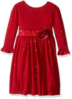 Youngland Little Girls Sparkle Sweater Knit Dress with Flower Detail Red 6 >>> To view further for this item, visit the image link.Note:It is affiliate link to Amazon.