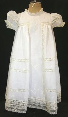 Lovely white dedication dress with lace insertion and hand embroidery.  Beautiful heirloom sewing by Miss Dot Still.