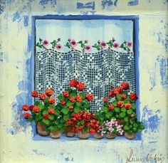 Flowers in the window // Turkish artist Fusun Urkun