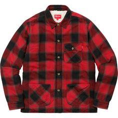 cbcd61dda3fa4 Buffalo Plaid Sherpa Lined Chore Shirt Buffalo Plaid, Supreme, Button Down  Shirt, Men