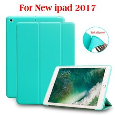 Case for iPad 9.7 2017, PU Leather Front Cover+Soft TPU Silicone Back Cover+PC Auto Sleep Smart case for New iPad 2017 Release