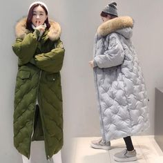 Winter Women Down Parka Jacket Vogue Loose Full Length Outdoor Warm Coat Thicken