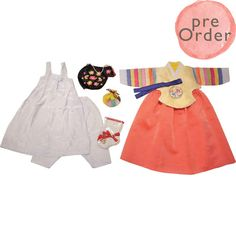 Pale Yellow and Coral Pink - Girl Dol Hanbok Set - 7 Pieces