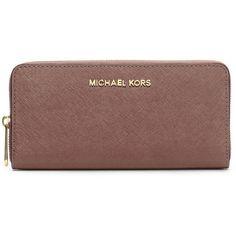 2cb4389aa163 MICHAEL Michael Kors Jet Set Zip-Around Continental Travel Wallet ($138) ❤  liked