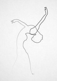 One line Dancer Art Print