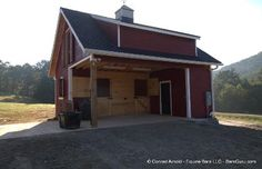 Two horse stall barn with tack and feed room and hay loft.