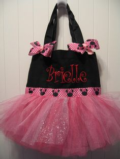 Embroidered Dance bag  Mini Dance bag with two by gkatdesigns, $19.00    Dance bag for her birthday!