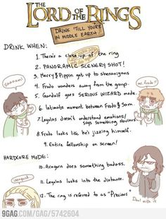The LOTR Drinking Game. I would totally play it!