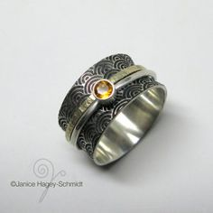 Asian Inspired Water Pattern Sterling Silver and Gold Spinner Ring with Citrine, Sapphire or Garnet Stone Jewelry Art, Jewelry Rings, Water Patterns, Garnet Stone, Spinner Rings, Designer Earrings, Precious Metals, Rings For Men, Handmade Jewelry