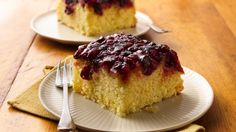 Tangy cranberries take the place of pineapple in this pretty upside-down cake.