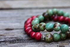 Cranberry Aqua Acai Bead Bracelets / Bali Sterling Silver Stacking Bracelets / Holiday Bohemian Ethnic Tribal  Red Blue Green Natural Seed on Etsy, $35.00