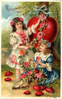 Girls with Roses & Hearts Vintage Valentine's Day Embossed Postcard 1909. $6