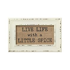 Vintage Bistro Burlap Printed Framed Wall Decor for Kitchen Dining Restaurant (Little Spice)