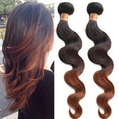 "Brazilian Hair 12""-30"" Body Wave Ombre Real Human Hair Extension 50g/Bundle Weft #Wigiss #BodyWave"