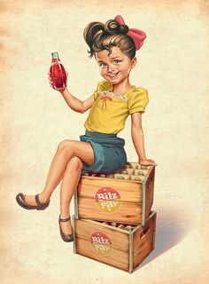 """Love the life-like look of this with the cartoon-like """"feel."""" // Biltz & Pap Chilean Soda - Vintage Illustration by Oscar Ramos"""